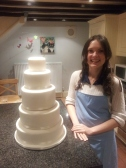 Me and my pride an joy - The 5 Tier iced wedding cake with ribbon in Kate's wonderful kitchen